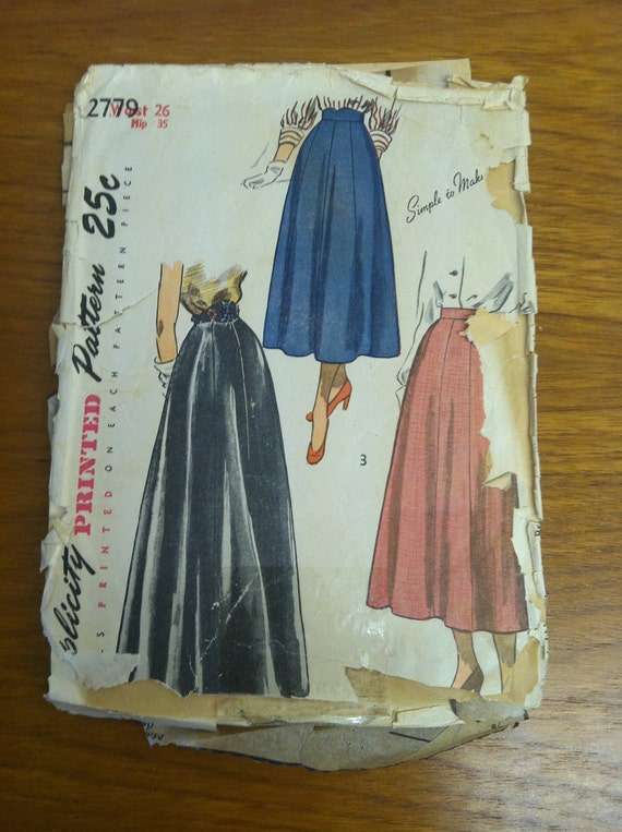 1949 Simplicity Pattern 2779 Vintage 40s Beautiful Skirts 1940's Sewing Pattern Different Waistbands 7-54