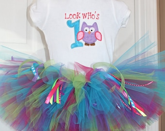 Berry Berry Owl Birthday Tutu  set  with ribbons Great for Birthdays, Photography Prop, and Dance