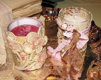 Spring Sale!!  Set of Two Votive Holders with Antique Lace, and Candles