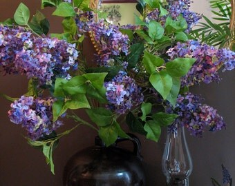 Stunning Lilac Bouquet Silk Flower Stems, Large and High End Quality