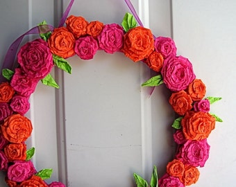 Bright Pink and Orange Rose, Wreath Bridal Shower Chic