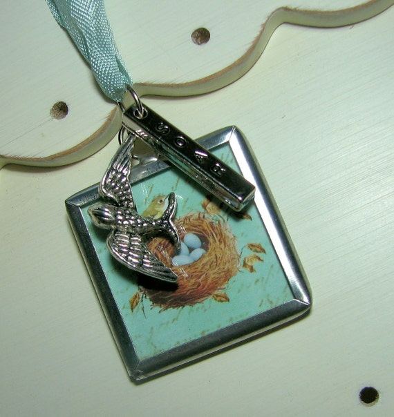 SOAR   Necklace with Charms On Lovely Rayon Ribbon