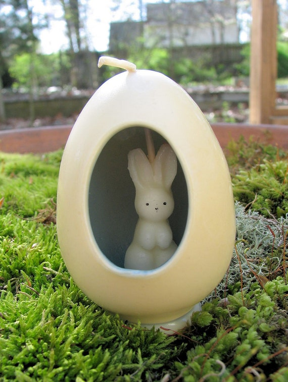 Vintage Gurley Candle- Egg With Tiny Bunny Inside