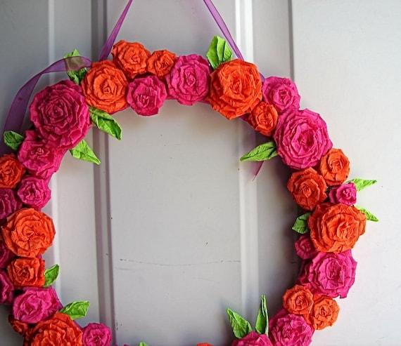 Bright Pink and Orange Rose, Wreath Bridal Shower Chic