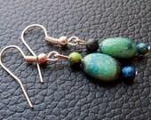 Australian Jasper and Silver Dangle Earrings