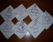 Vintage Hand Embroidered Set of  Dish Towels for Each Day of the Week - Lavendar Floss