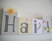 Baby Name Block . Yellow and Grey . Pink . Nursery Name Blocks. Sweet Sunshine.   Baby Letter Blocks . Wood Name Blocks .