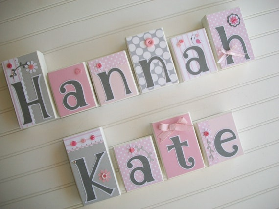 Baby Name Blocks . Nursery Name Blocks . Nursery Decor . Baby Letter Blocks .Pink and Grey Nursery. Wood Name Blocks .