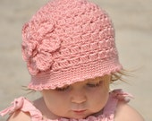 Girls Crochet Hat, Pink, Baby Hat, Sizes Newborn to Adult Available, Great Photo Prop