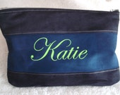 2 toned Ultrasuede Zippered Pouch, Waiting to be personalized