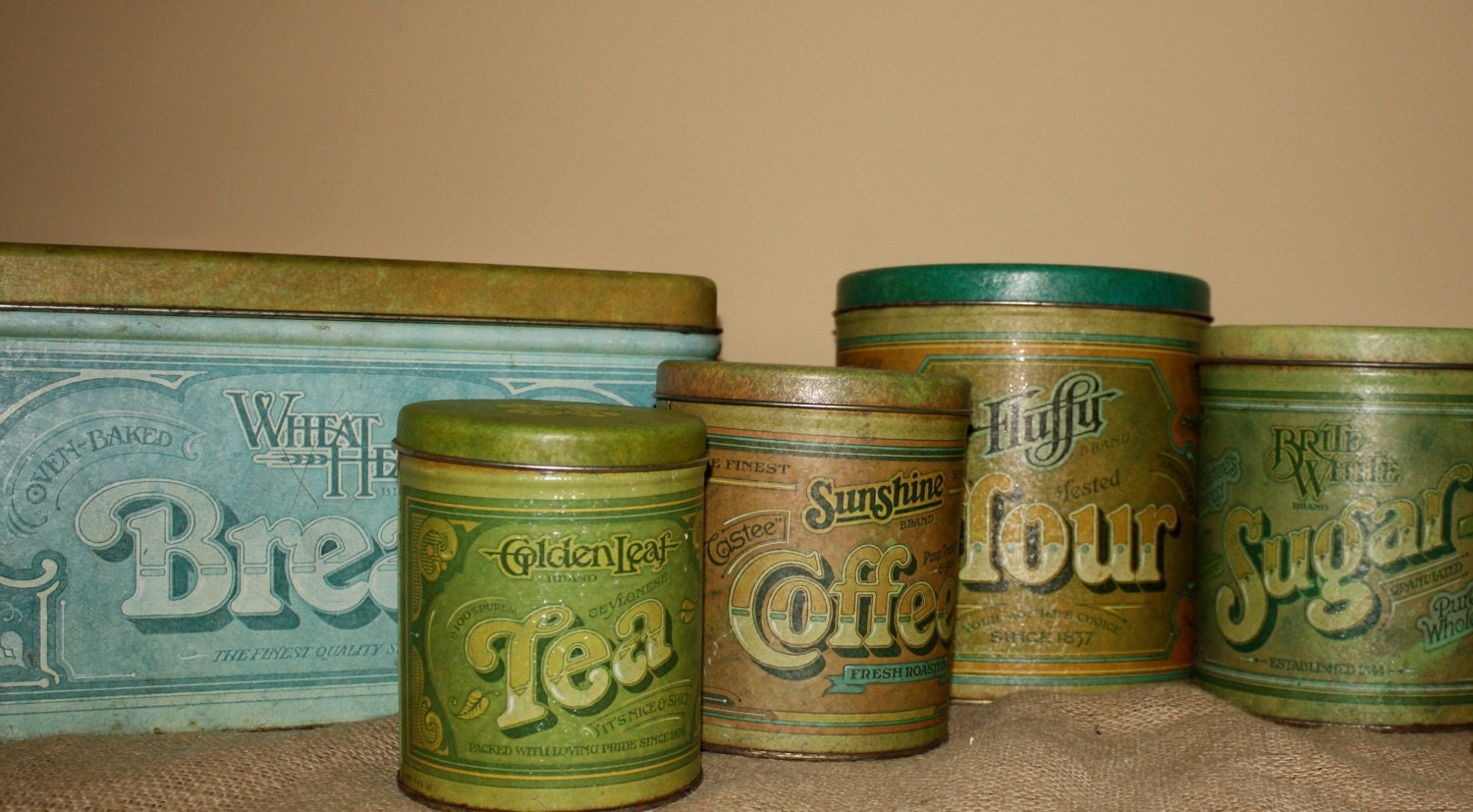 vintage metal kitchen canisters set of 5 by nostalgicnesthome