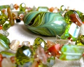 Rusty green necklace & earrings set - green, rust, big pocelain bead, with loop (worn 2 ways - long or short)