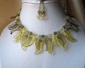 Soft Yellow & Grey Bib Necklace and Earrings set - Citrus, lemon, butter, adjustable