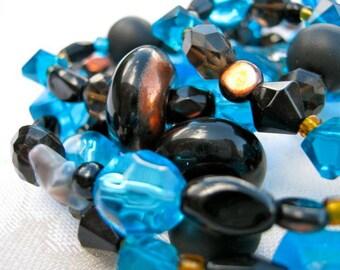 Deconstructed sea blue necklace - black, copper, blue, long, smoky quartz
