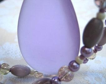 Lavender drop necklace - simple, delicate, big glass drop pendant