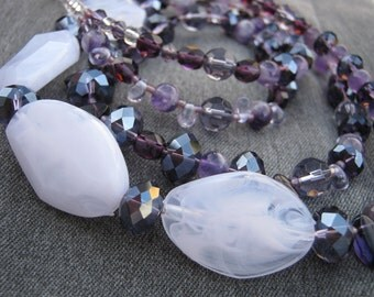 Sweet amethyst necklace - white, purple, mauve, amethyst, crystal, glass, resin, double strand