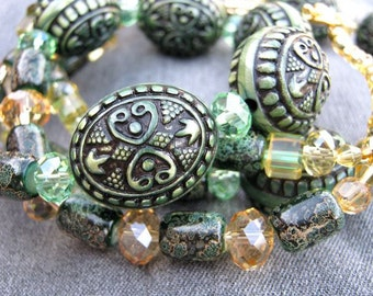 Citrus necklace - green, yellow, peridot, khaki, crystals, chunky, antique looking ornate green beads