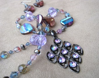 Lavender sparkle pendant necklace & earrings set - mauve, pink, purple, grey, charcoal, aged silver