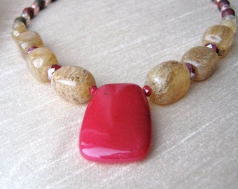 Naturally Fuchsia necklace, pink or fuchsia jade pendant, semi-precious stones in cream and clear tones, crystals and glass, trendy