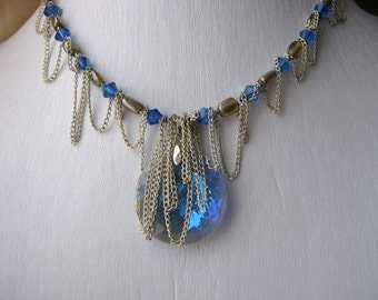 Metal chain blue necklace - crystal pendant, loops of chain