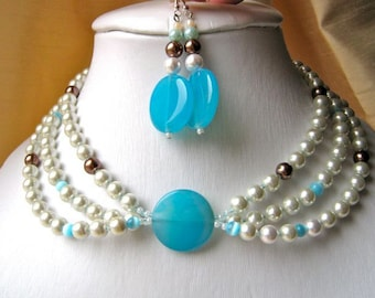 Sky blue & White Necklace and Earrings Set - White pearls, pale blue agate, brown accents, adjustable, dangling, round, circle