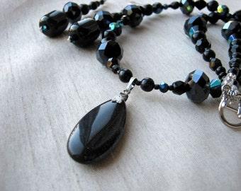 Black Pendant Necklace & Dangling Earrings Set - dark blue reflections