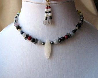 Casual Cool Necklace & Earrings Set - pendant, short, natural looking, stones, resin, hematite, white, grey, red, blue, yellow, white, brown