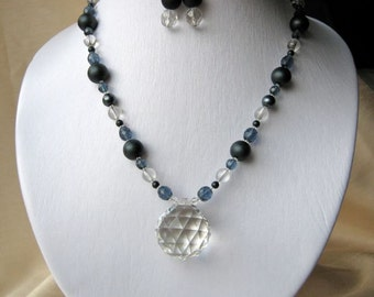 Giant crystal pendant necklace & earrings set - big, chunky, sparkly, bluish-grey, charcoal, black