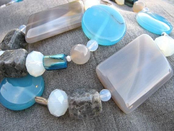 Blue Ice necklace & earrings set - sky blue, grey, white, semi-precious stone, mid-lengh