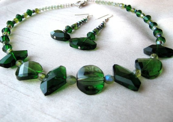 Green Crystal Necklace & Earrings Set - forest green, emerald green, olive, iridescent shimmering crystal