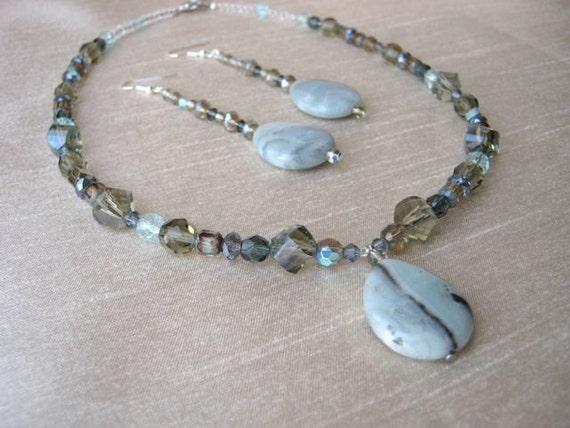 Mint Stone Necklace & Earrings Set - green, grey, drop shaped pendant, dangling, crystal, sparkling, unique, handmade, one of a kind