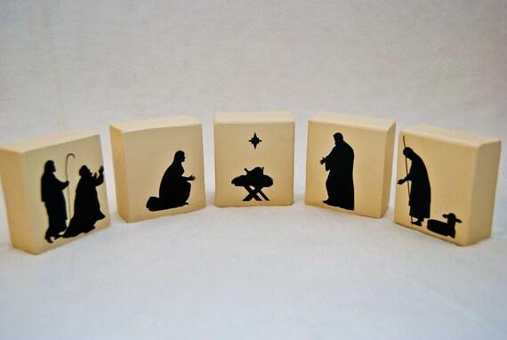 Handmade Painted Wood Block Nativity Set LAST ONE by AccessoryFox