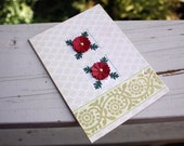 Elegant Handmade Greeting Card in shades of red white and gold for all occasions