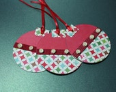 Set of 3 Handmade Holiday Ornament Gift Tags in holiday colors