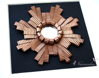 Rustic Copper Framed Mirror Wall Art with Paper Quilling, Paper Anniversary, Mothers Day