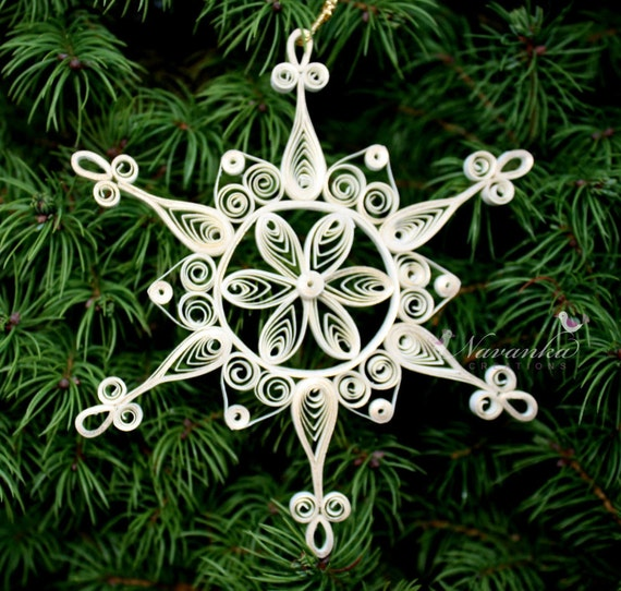 Paper Quilled Snowflake Ornament with a Touch of Gold