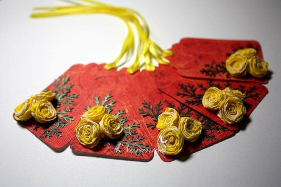 Handmade Gift Tags with Yellow Paper Quilling Roses