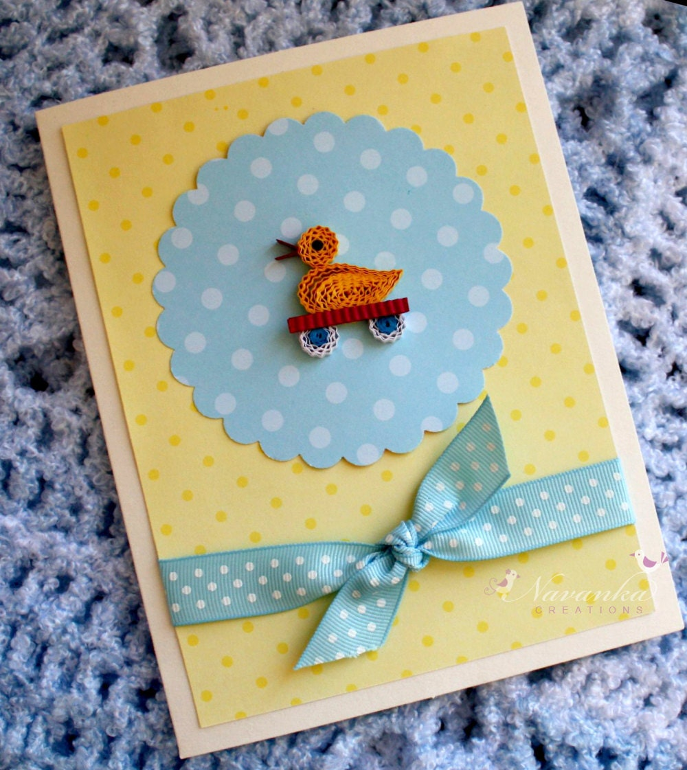Baby Shower Card Baby Boy Welcome Card Handmade Greeting Card