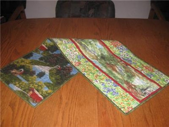 Handmade Table Runner quilted SUmmer Floral Meadow Country Covered Bridges