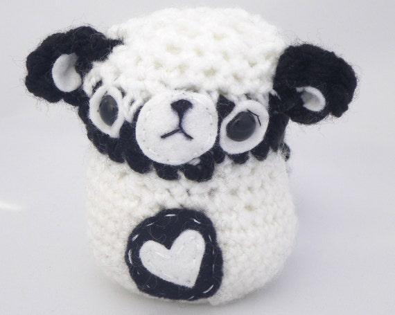 bear mouse amigurumi mini plush black and white with felt heart OOAK gift wrapped ready to ship