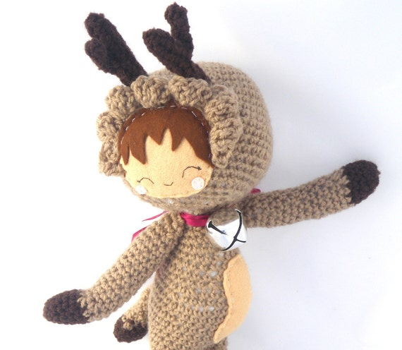 Christmas amigurumi reindeer girl plush stuffed doll cosplay crochet brown fawn OOAK Xmas gift wrapped silver jingle bell ribbon