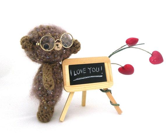 bear amigurumi plush glasses blackboard heart valentine's stuffed softie beige brown OOAK gift box ready to ship