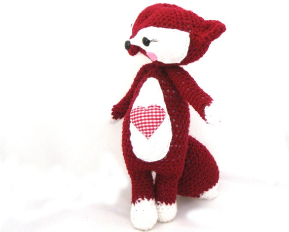 amigurumi fox woodland valentines plush girl doll stuffed animal heart red white gingham crochet  OOAK gift wrapped