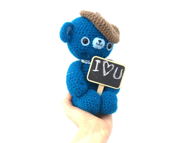 bear amigurumi plush teal blue miniature blackboard message stuffed teddy softie beige brown beret hat crochet OOAK ready to ship gift wrap