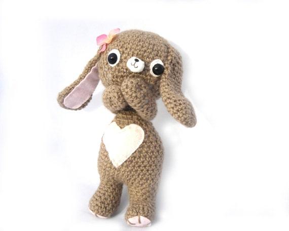 bunny amigurumi plush girl beige brown crochet flower pink felt heart  easter OOAK gift wrapped ready to ship