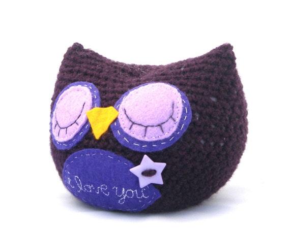owl plush sleeping amigurumi purple star embroidered stuffed animal softie sleepy i love you crochet woodland OOAK gift wrapped