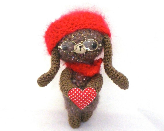 bunny amigurumi plush glasses spectacles heart easter stuffed softie red mohair cap hat beige brown OOAK gift wrapped ready to ship