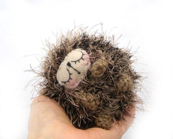 hedgehog amigurmi plush sleeping sleepy baby gift boxed OOAK ready to ship beige brown black crochet