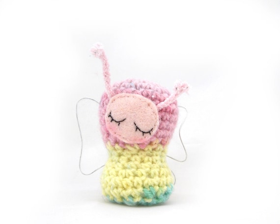 butterfly amigurumi plush rainbow pastel miniature fairy sleeping sleepy ornament striped stuffed animal crochet gift box ready to ship