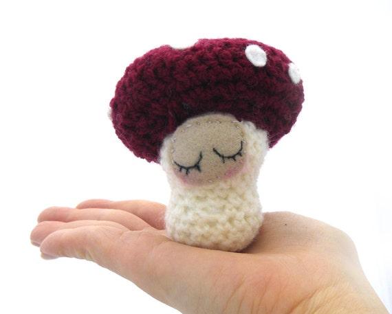 toadstool mushroom amigurumi sleeping sleepy decoration plush cream burgundy red white crochet ornament deco ready to ship